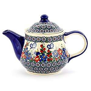 Polish Pottery, Handpainted and Handcrafted Ceramic Teapot 1300ml ― Butterflies Artistic Pattern (A001)