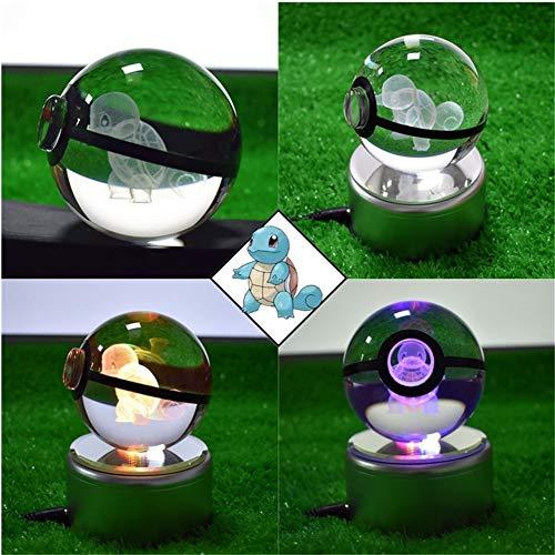 360° Rotating RGB K9 Crystal Ball Table Lamp 3D LED Cartoon Anime Night Light Creative Home Decoration Gift Children's Toys Advanced Crystal Gift (8CM Crystal Ball/USB) (JNG)