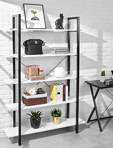 ORAF Bookshelf 5 Tier 47Lx13Wx70H inches Bookcase Solid 130lbs Load Capacity Industrial Bookshelf, Sturdy Bookshelves with Steel Frame, Assemble Easily Storage Organizer Home Office Shelf,Modern White