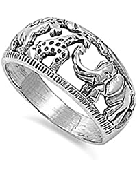 Sterling Silver Horse, Giraffe, Elephant Animals Band Ring 10mm ( Size 4 to 12)