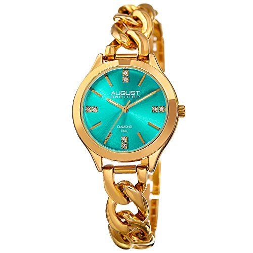 August Steiner Women's Genuine Diamond Gold-Tone Case with Turquoise Dial and Gold-Tone Steel Chain Link Bracelet Watch AS8222YGTQ (Turquoise Link Bracelet Set)