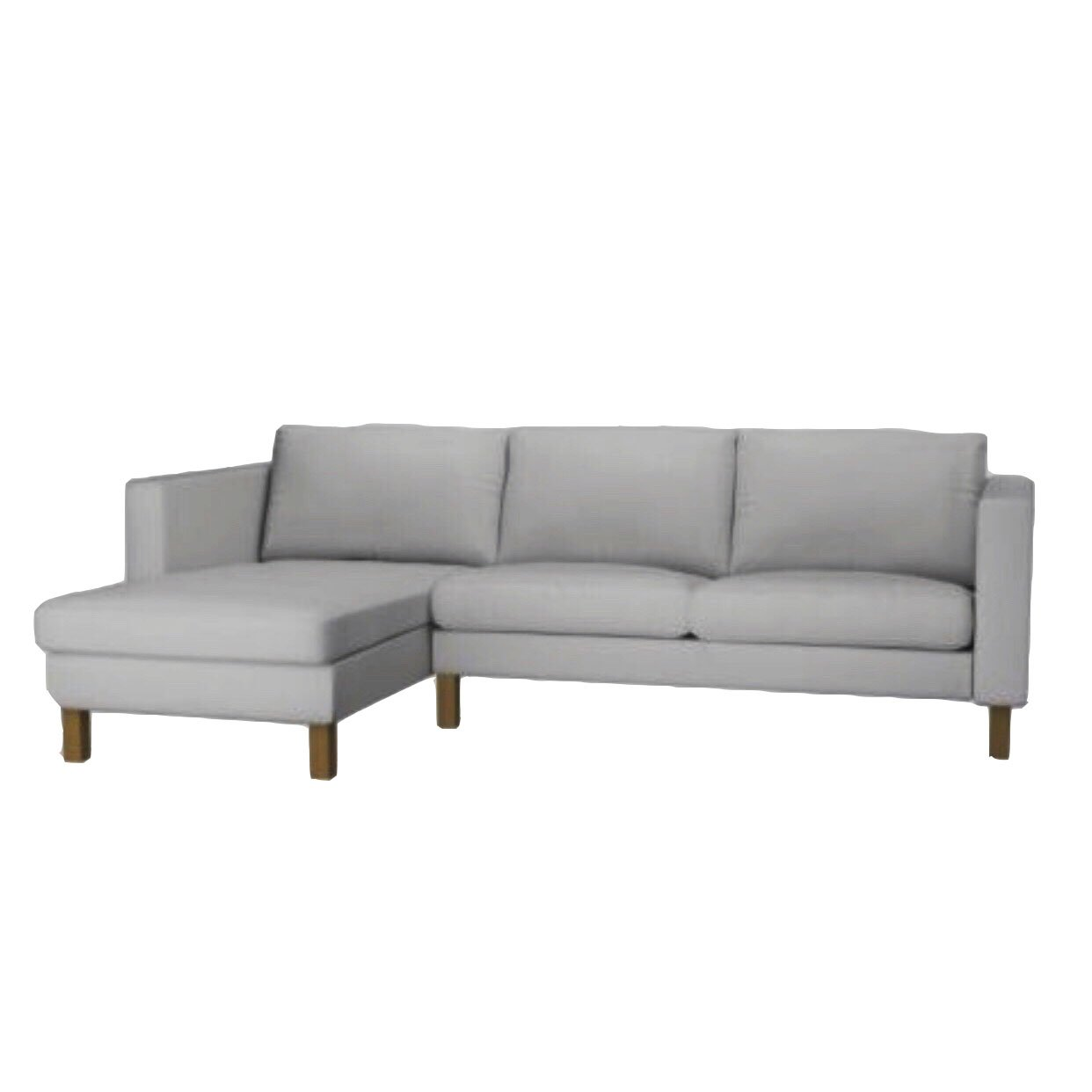 Replace Cover for IKEA Kalstad Two Seat Sofa with Chaise, Replace Loveseat with Chaise Cover, 100% Cotton Fabric, Durable and look elegant (Light Gray)