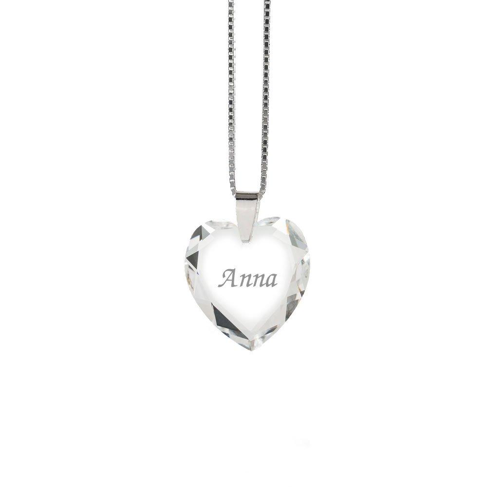 Halskette 925 Sterling Silber mit SWAROVSKI ELEMENTS Herz und individueller Namensgravur Kristallwerk 622718001NAMENKS45