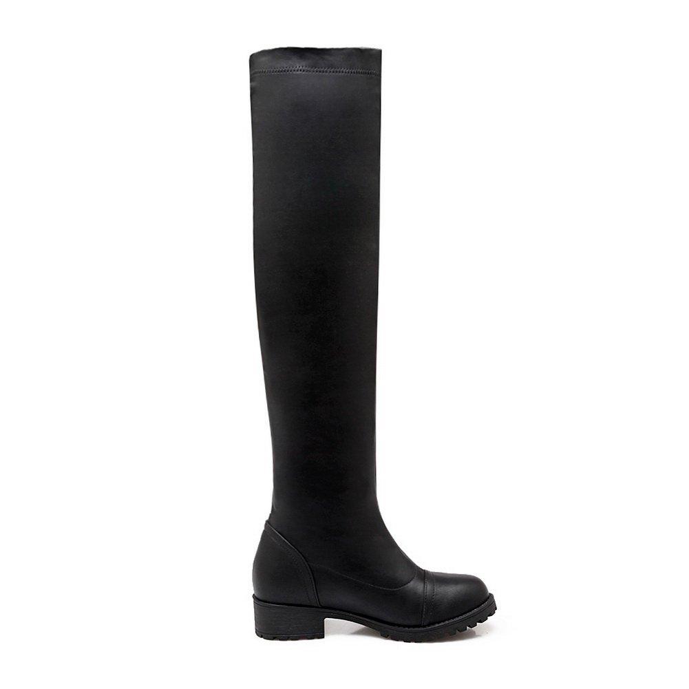 BalaMasa Urethane Womens Solid Pull-On Above-The-Knee Urethane BalaMasa Boots ABL10623 B0792P8WMW Boots 4f545c