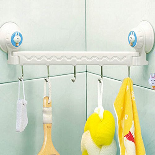 Bathroom Kitchen Wall 5 Hooks Powerful Vacuum Suction Cup Hanger