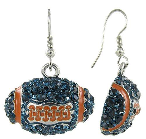 - Dome Football Rhinestone Fish Hook Earrings - Navy Blue Crystals and Orange Enamel