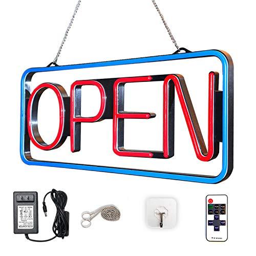 LED Open Sign Bundle| for Business|bar|Office|Store|256 Grade Super-Bright Color Light Display Combos|Red|Blue|Handmade|w/Chain Hook|programmable|Neon Flashing | Advertising|Bonus Sucker Hanger ()