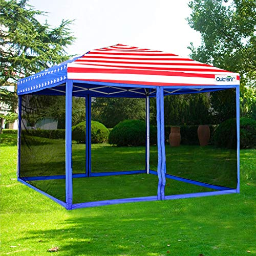 (Quictent 10x10 Ez Pop up Canopy with Netting Gazebo Mesh Side Wall Screen House Tent with Roller Bag (American Flag) )