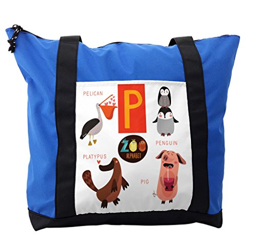 Lunarable ABC Kids Shoulder Bag, Lovely Animals Pelican, Durable with Zipper by Lunarable