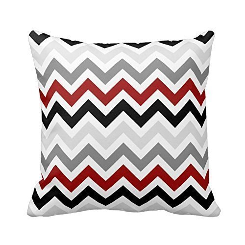 Red Black Grey White Zig Zag Pillowcase