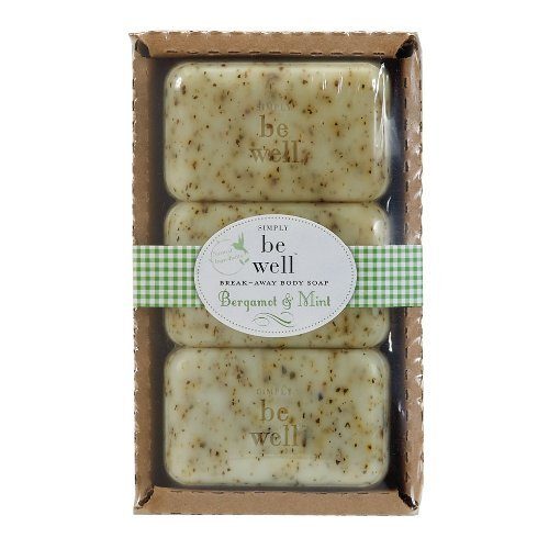 - Simply be well BERGAMOT MINT Moisturzing Bar Soaps - Gluten, Paraben, Artificial Color Free - 9.5 OZ Gift Boxed Set of 3 Breakaway Bath Soaps