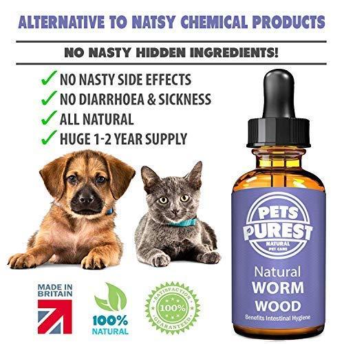 Pets Purest Desparasitante antiparasitario 100% natural para perros, gatos, aves, pájaros, conejos y mascotas. Elimina eficazmente todos los gusanos, ...