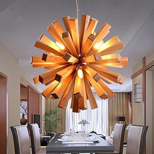 Restaurante Americano candelabro de madera tienda de ropa retro moderno Cafe lámpara colgante,550x550x550mm