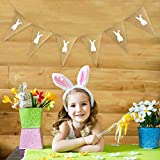 Denzar Happy Easter Home Garden Flag Vertical Spring Summer Yard Outdoor Decorative,Party Decoration Linen Pennant Bunting Banner Rabbit Easter String Flag (C)