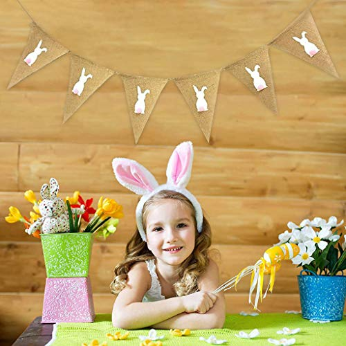 Samoii Festival Home DIY - Easter Banner - Easter Decorations - Religious Holiday Resurrection Bunting Banner - Party Outdoor Hanging String Flag Decor -