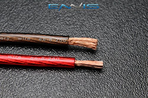 8 GAUGE WIRE 25 FT TOTAL 12.5FT BLACK 12.5FT RED AWG CABLE BY ENNIS ELECTRONICS POWER GROUND STRANDED CAR SOLAR AUTOMOTIVE Photo #4