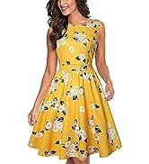 MISSJOY Women's Vintage Dresses 1950s Floral Tea Dress Sleeveless Garden Party Cocktail Swing Dre...