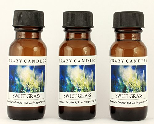 (Sweet Grass 3 Bottles 1/2 Fl Oz Each (15ml) Premium Grade Scented Fragrance Oil By Crazy Candles (Fresh and Clean Aroma))
