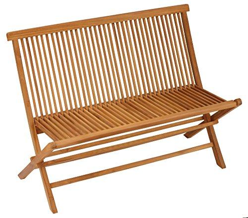 Bare Decor Logan Outdoor Folding Bench Loveseat in Solid Teak (Reclaimed Teak Furniture Garden)