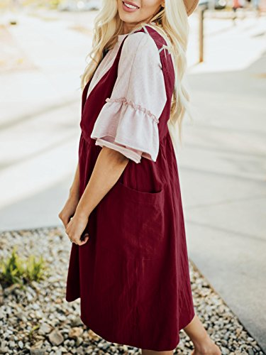 with Casual Dress Overall V Womens Saodimallsu Neck Jumper Pockets Burgundy Dresses Sleeveless Straps Loose PHqUR