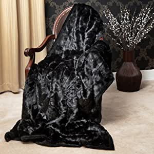 "Faux Fur Throw Blanket 58"" x 60"" - Black Mink - TR"