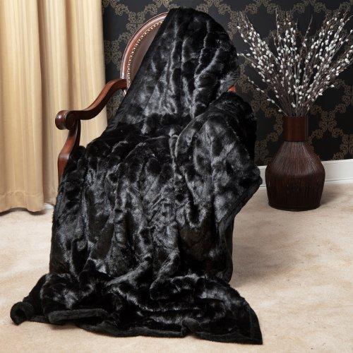Black Faux Fur Throw - 8