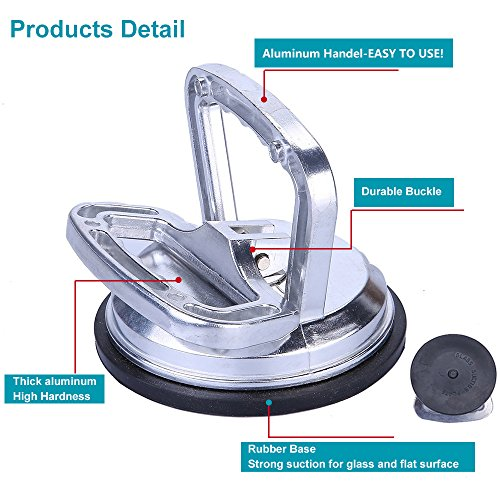 Chenyang Silver Aluminum Vacuum Suction Cup – Car Dent Puller Glass Lifter for Glass/Tiles/Mirror/Granite Lifting by chengyang (Image #1)
