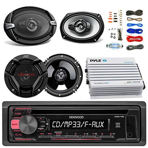 Kenwood KDC118 Car CD Player Receiver AUX Radio - Bundle Combo With 2x JVC 6x9