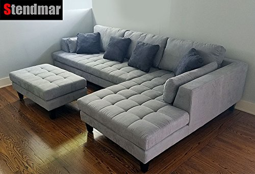 3pc New Modern Gray Microfiber Sectional Sofa S168RG -