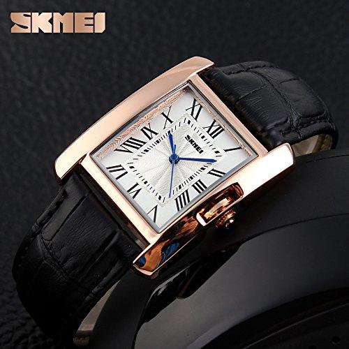 Amazon.com: Fashion Watches For Women Waterproof,Skmei Ladies Wristwatches,Vogue Leather Strap Rose Gold Case Quartz Wrist Watch (black): Watches