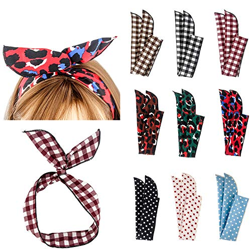 Kaide 9 Pcs Wire Rabbit Ear Twisted Bow Headband Head Wrap Hair Accessory Hairbands for Women and Girls