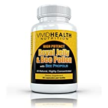 High Potency Royal Jelly & Bee Pollen with Bee Propolis by Vivid Health Nutrition - 90 capsules