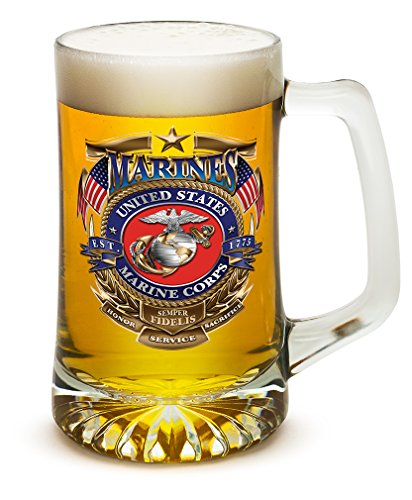 Beer Mugs with Handles - US Marine Corps Tankard Beer Mug - USMC Badge of Honor Marine Gifts for Men or Women - Beer Glass with Logo (25 -