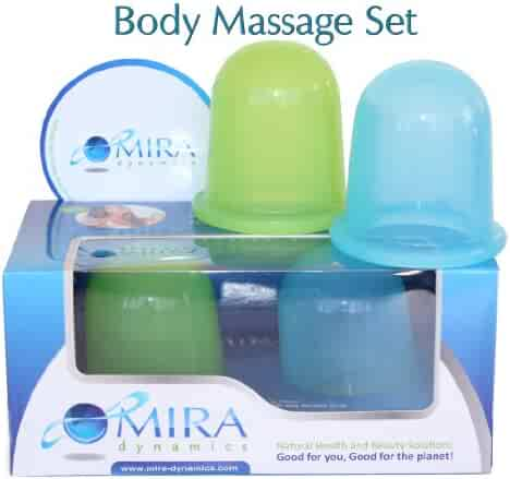 Mira Dynamics International Body Massage Cups ,Set Includes 1 Soft (Green) and 1 Hard (Blue) Cups