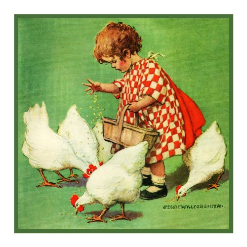 l feeding Chickens By Jessie Willcox Smith Counted Cross Stitch Pattern ()