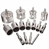 Naladoo 15Pcs/Set Durable Diamond Tool Drill Bit Hole Saw Set For Glass Ceramic Marble 6-50mm Pro Tools Sets