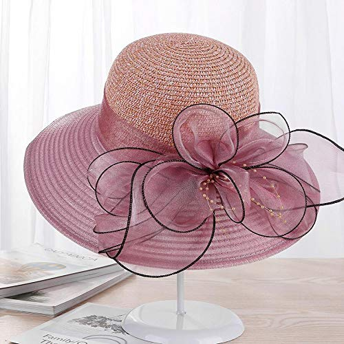 URNGLB Large Wide Brim Organza Flower Sun Ladies Kentucky Derby Wedding Party Dress Floppy Summer Hats for Women 1