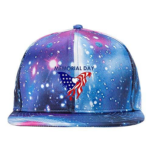 GCASST Memorial Day Eagle Flag Galaxy Baseball Cap, Adjustable Snapback Hats, Unisex Flat Brim Caps for Men Women Boys Girls -