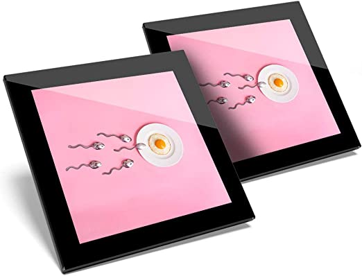 Impresionante juego de 2 posavasos de cristal - Fertility Food IVF Concept Sperm Egg Glossy calidad posavasos/protección de mesa para cualquier tipo de mesa #16166: Amazon.es: Hogar