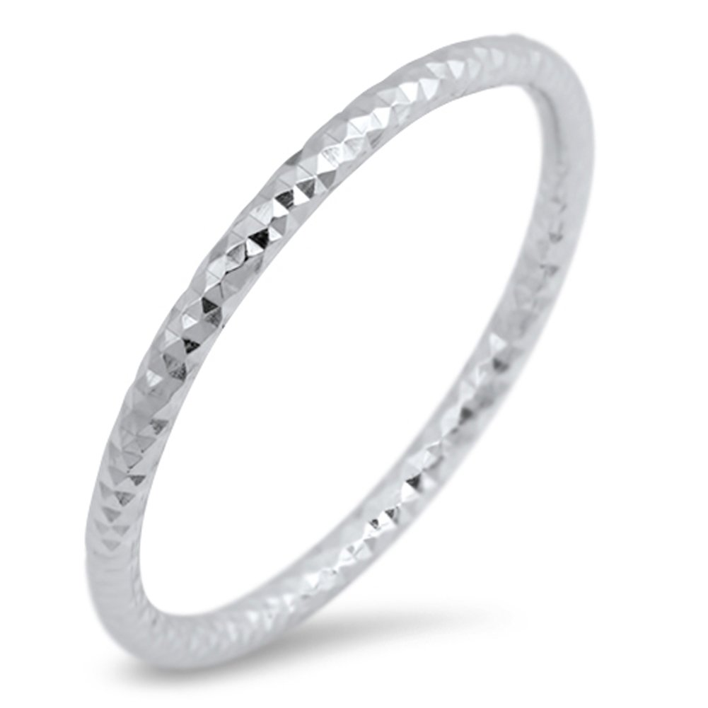 Thin Diamond-Cut Stackable Wedding Ring New .925 Sterling Silver Band Sizes 2-10 Sac Silver