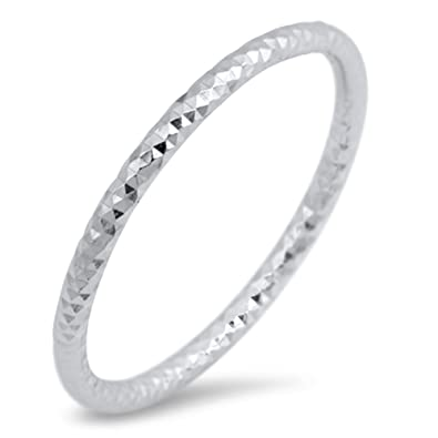 Amazon Com Thin Diamond Cut Stackable Wedding Ring New 925