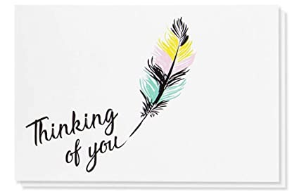 image regarding Printable Thinking of You Cards titled 48-Pack Wanting to know of By yourself Take note Playing cards - Blank upon the Inside of, Vibrant Feather Style, Consists of 48 Greeting Playing cards and Envelopes, 4 x 6 Inches
