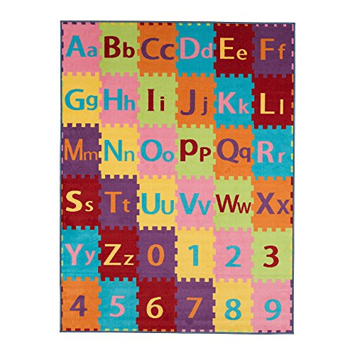 Ottomanson Garden Collection Alphabet Letters and Numbers Design Children Nursery Kid's Play Area Rug, 8'2 X 9'10, Multicolor by Ottomanson (Image #1)