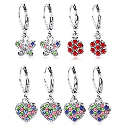 LOYALLOOK 4Pairs Leverback Earrings for Girls Stainless Steel Heart Butterfly Drop Dangle Earrings Flower Crystal Earrings Set ()