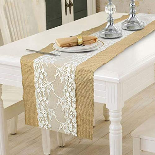 (ROGEWIN Table Runner Burlap Flag Wedding Wide Flower Lace Natural Rustic Retro Fireplace Dining Room Coffee Tables)