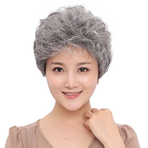 Old Woman Costume Hair (BESTUNG Short Silver Gray Synthetic Wigs Fluffy Little Curly Wavy Mom Grey Costume Wigs For Old Middle Age Women Office Lady)