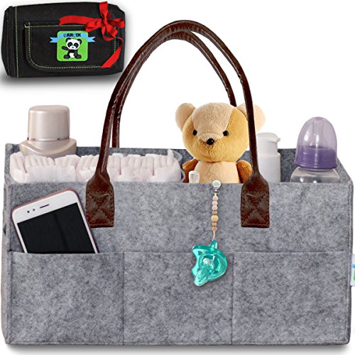Baby Diaper Caddy Organizer – Nursery Basket with Convenient Leather Handles Makes Perfect Baby Shower Gift – Durable, Portable Changing Table Diaper Storage + Bonus Insulated Wipe Carrier by (Go Pump Holder)
