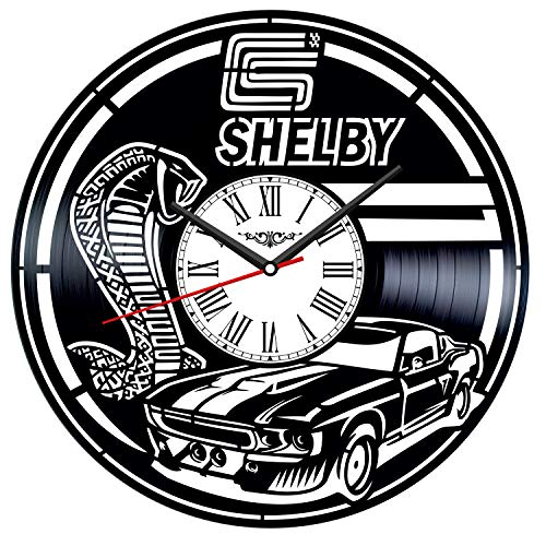 Shelby Ford Mustang Vinyl Record Wall Clock Poster - Vintage Home Decor Kitchen Bedroom Living Room Office - Unique Handmade Gift for Men Woman Friends Boys - 12 inches