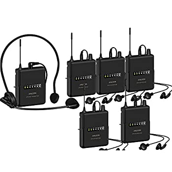 Image of Wireless Headset Microphones ANLEON MTG-200 Wireless Tour Guide & Language Interpretation System 915Mhz (5 Receivers)