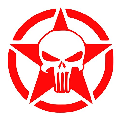 (UR Impressions Red 22.5in. Oscar Mike Army Star Punisher Skull Decal Vinyl Sticker Graphics for Cars Trucks SUV Vans Walls Windows Laptop RED 22.5 inch URI470)